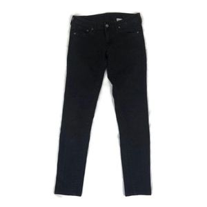 Zara Denim Solid Black Straight Leg Stretch Jeans
